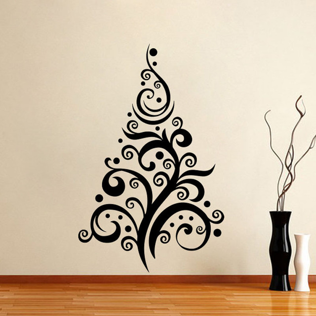Abstract Curved Christmas Tree Wall Stickers Home Decor Living Room  Creative New Year Wall Decals For