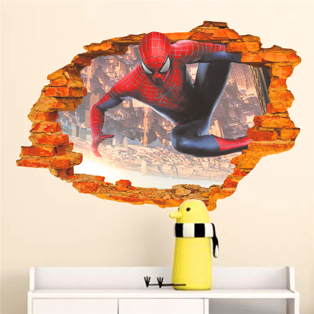 cartoon hero spiderman through wall stickers for kids room wall art