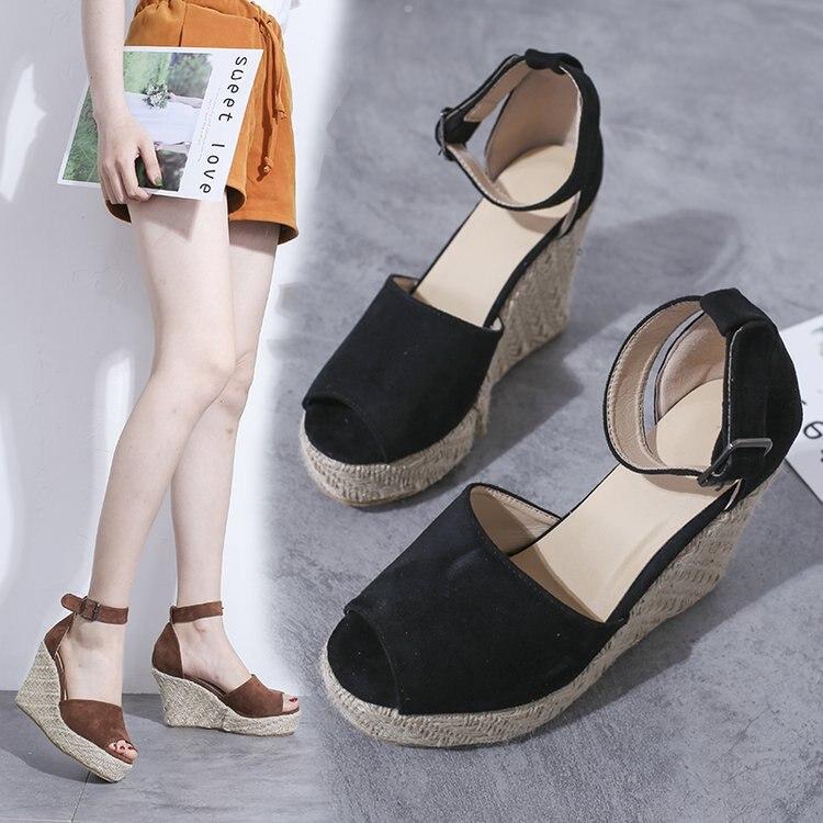 Women Sandals Ankle Strap Straw Platform Wedges Flock High Heels Cover Heel Sandal,Rose Red 10Cm,9