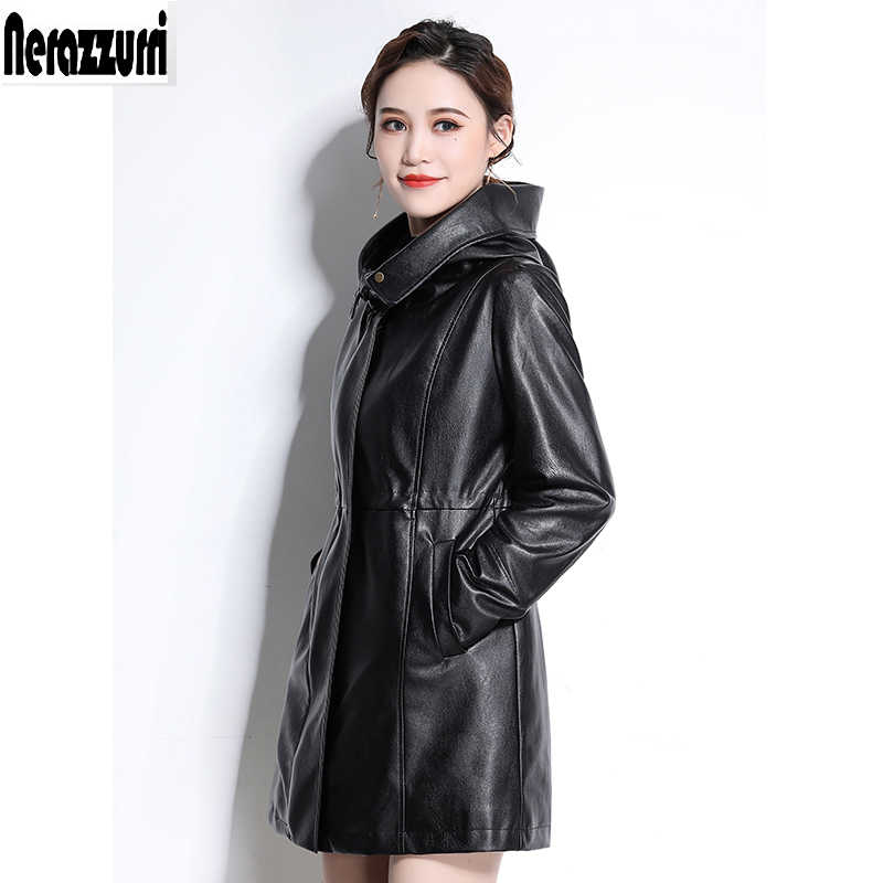 Nerazzurri Faux leather jackets women 2019 with zipper hooded black pleated long sleeve plus size pu leather jacket 5xl 6xl 7xl