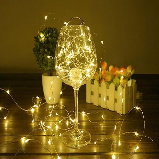 2 м 5 м 10 м серебристый Провода Гирлянды светодиодные огни Водонепроницаемый праздник Светодиодные ленты освещения для феи Рождество дерева Свадебная вечеринка украшения