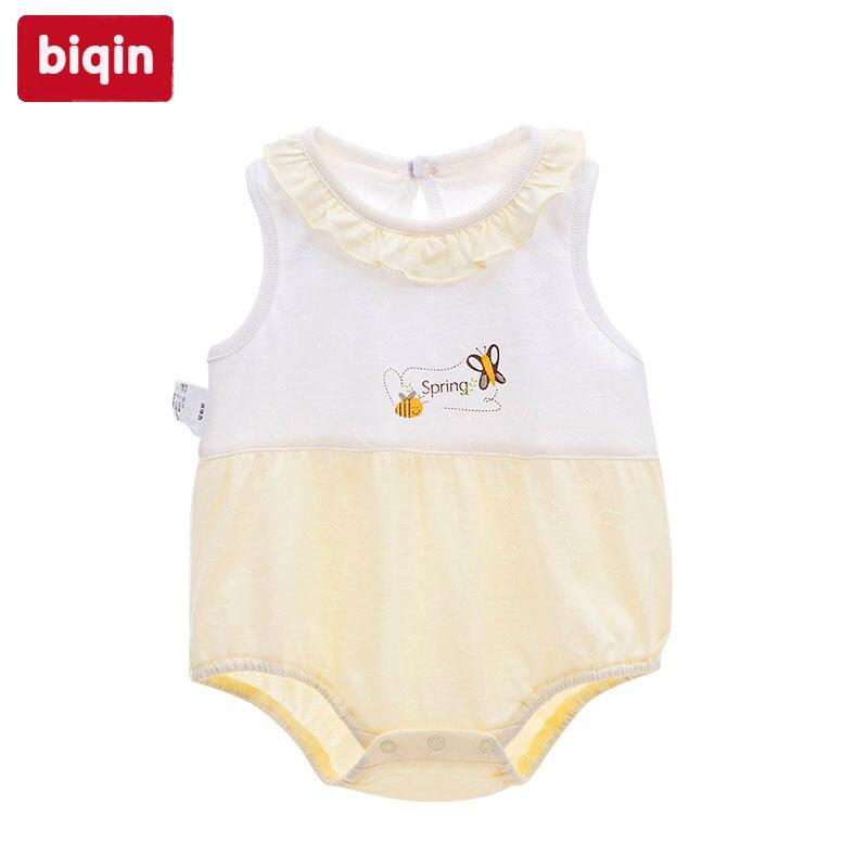 Biqin3M-12M baby children kids rompers girl romper Girl Spring Summer Bee Butterflies Dance Romper kids ruffle tie neck striped romper