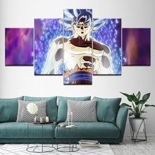 Canvas Schilderijen HD Prints 5 Stuks Dragon Ball Anime Pictures Super Saiyan Poster Wall Art Framework Voor Woonkamer Woondecoratie