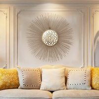 Creative Wrought Iron Wall Hanging Gold Sunglasses Flower Mirror Mural 3D Livingroom Wall Crafts Home Decor Accessories R1340