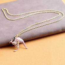 Fashion 3D Animal Enamel Kangaroo Pendant Chain Necklace Sweater Jewelry(China)