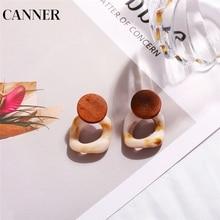 CANNER Fashion Big Drop Earrings For Women 2019 New Acetic Acid Large Korea Square Trendy Wood Geometric Jewelry R4