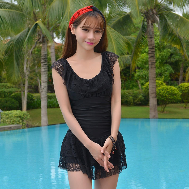 New Arrival Sexy Black One Piece Swimsuits Lace Swimwear One Piece Women Swimming Suits Skirt Hot Spring Beachwear Bathingsuit