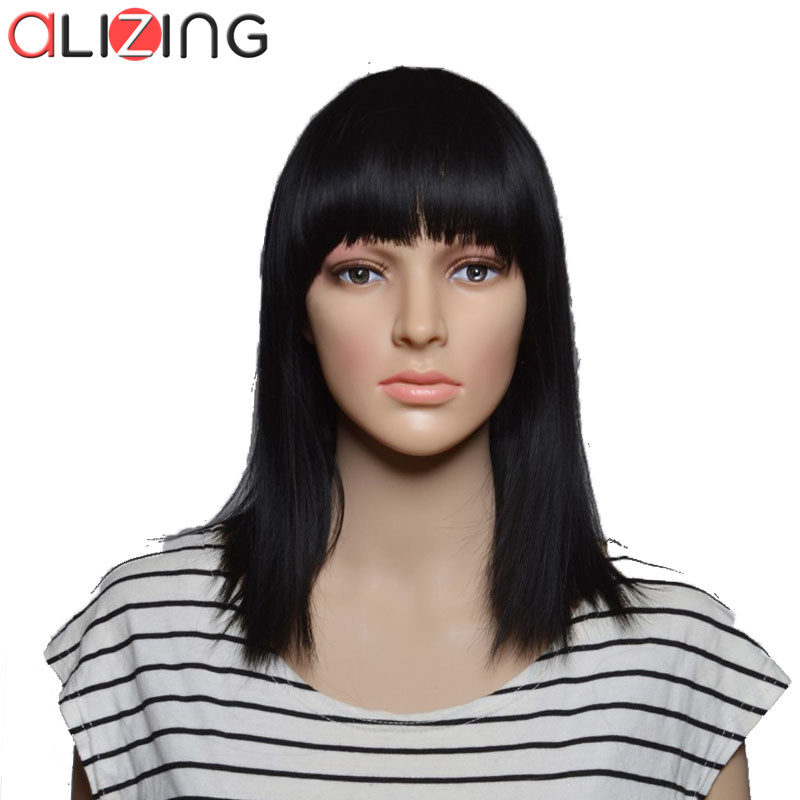 Alizing Synthetic Natural Black Wig Long Straight BOBO Hair Styles Wigs Sliver Grey Hair BOB Fiber Hair Wigs Pelucas Pelo 0178