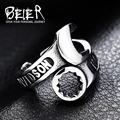 Beier new store 316L Stainless Steel ring high quality clear letter  biker ring fashion jewelry BR8-318 US size