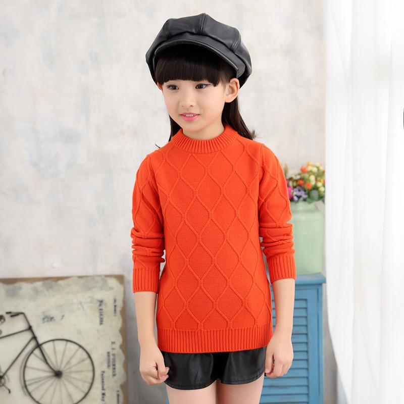 ФОТО 2017 Girl sweater Winter New sweater    Hedging Round collar Pure sweater  Children Clothing Girls   sweater Warm
