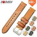 Poder zlimsn pulseiras de relógio de couro genuíno cinta faixa de relógio de aço inoxidável dos homens de italy cinto fivela de metal 20mm 22mm 24mm relogio