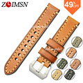 ZLIMSN Genuine Leather Watchbands Power Mens Italy Watch Band Strap Stainless Steel Belt Metal buckle 20mm 22mm 24mm relogio