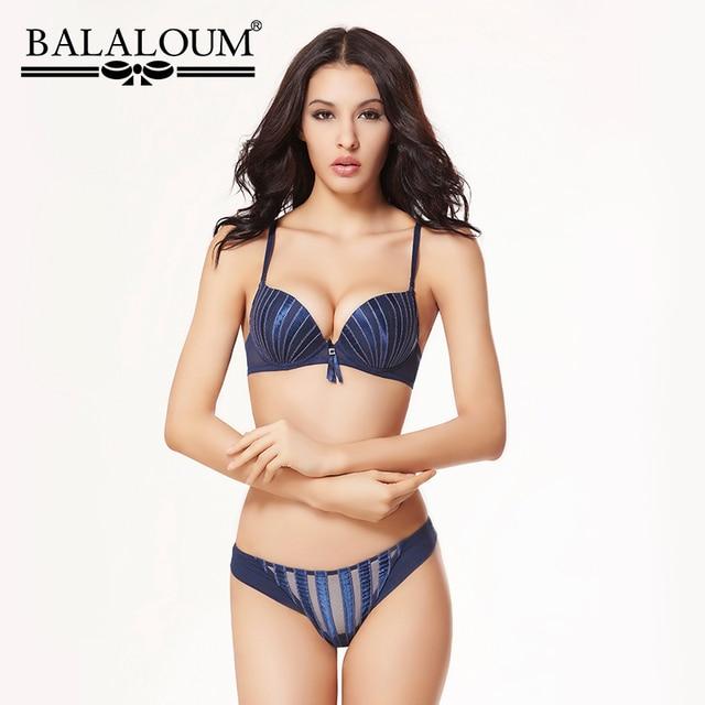 BALALOUM Sexy Women Shell Stripe Rhinestone Push Up Bra Panty Sets Brassiere Underwear Lingerie Set Seamless T Back Thongs Soft