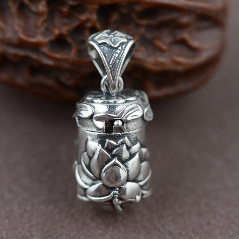 Real 925 Sterling Silver Buddha Lockets Terapung Mantra Lotus Pendant Openable Antique Prayer Box Talisman Amulet