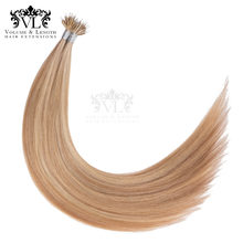 "VL Pre Bonded Nano Tip 100% Remy Hair Extensions 14"" 18"" 50g/pack Straight Hair Salon Weft Free-shipping Delivery Ash Blonde(China)"