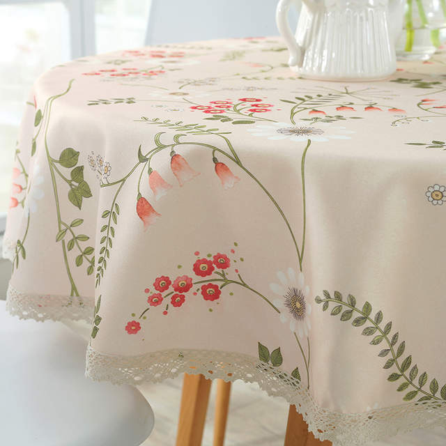 AliExpress & Pastoral PVC Round Table Cloth Waterproof Oilproof Floral Printed Lace Edge Plastic Table Covers Anti Hot Coffee Tablecloths
