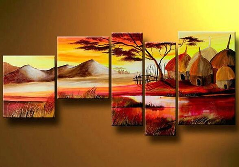 Hand Painted Natural Scenery Oil Painting Village ...