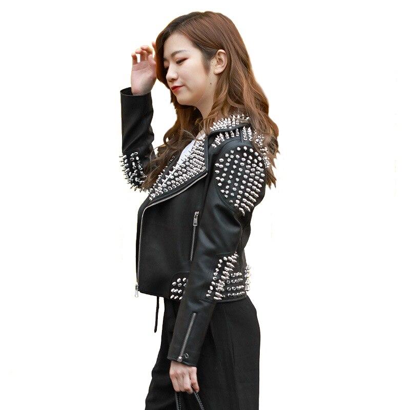 2019 Spring New Motorcycle   Leather   Jacket Women Punk Rock Jazz Rivet PU Coat Short Female Faux   Leather   Outerwear