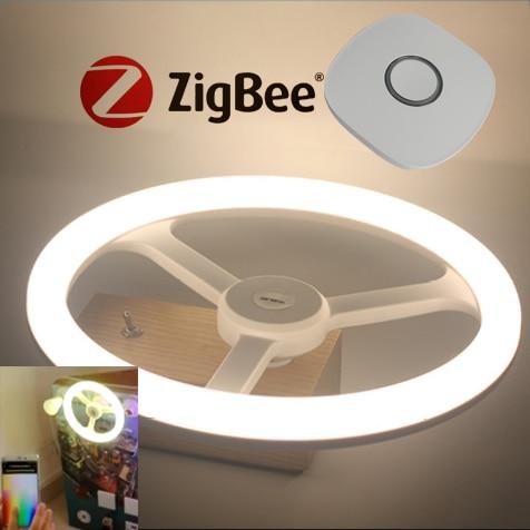 Compatible control by echo Alexa and Google home Zigbee Host and Eye-Care RGB LED kit Annular light 12w E26 E27 mini wifi rgb strip light controller with music control and voice control compatible with google home