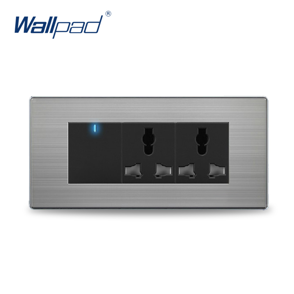 Hot Sale Wall Light 1 Gang 6 Pin Universal Socket China Manufacturer Wallpad Push Button One-Side Click  LED Indicator double computer socket free shipping hot sale china manufacturer wallpad push button luxury arylic mirror panel wall
