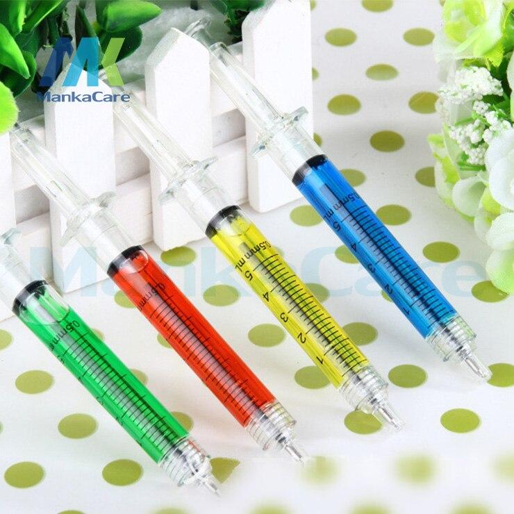 10 Pcs Novelty toys whole person creative needle syringe barrel ballpoint pen school supplies