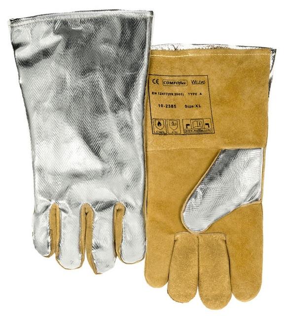 High Heat Resistant Aluminized PFR Rayon Welding Glove TIG MIG Safety Glove Cow Split Leather Work Glove