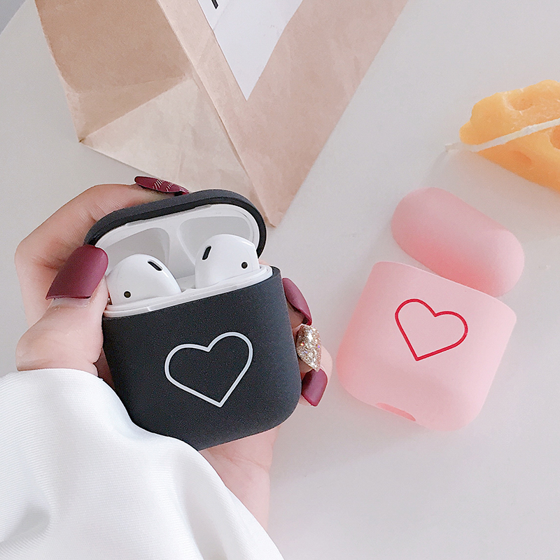 For Apple Airpods Cases Lovely Heart Cartoon Protective Cover Bluetooth Wireless Earphone Case For Airpods PC Hard Funda Coque