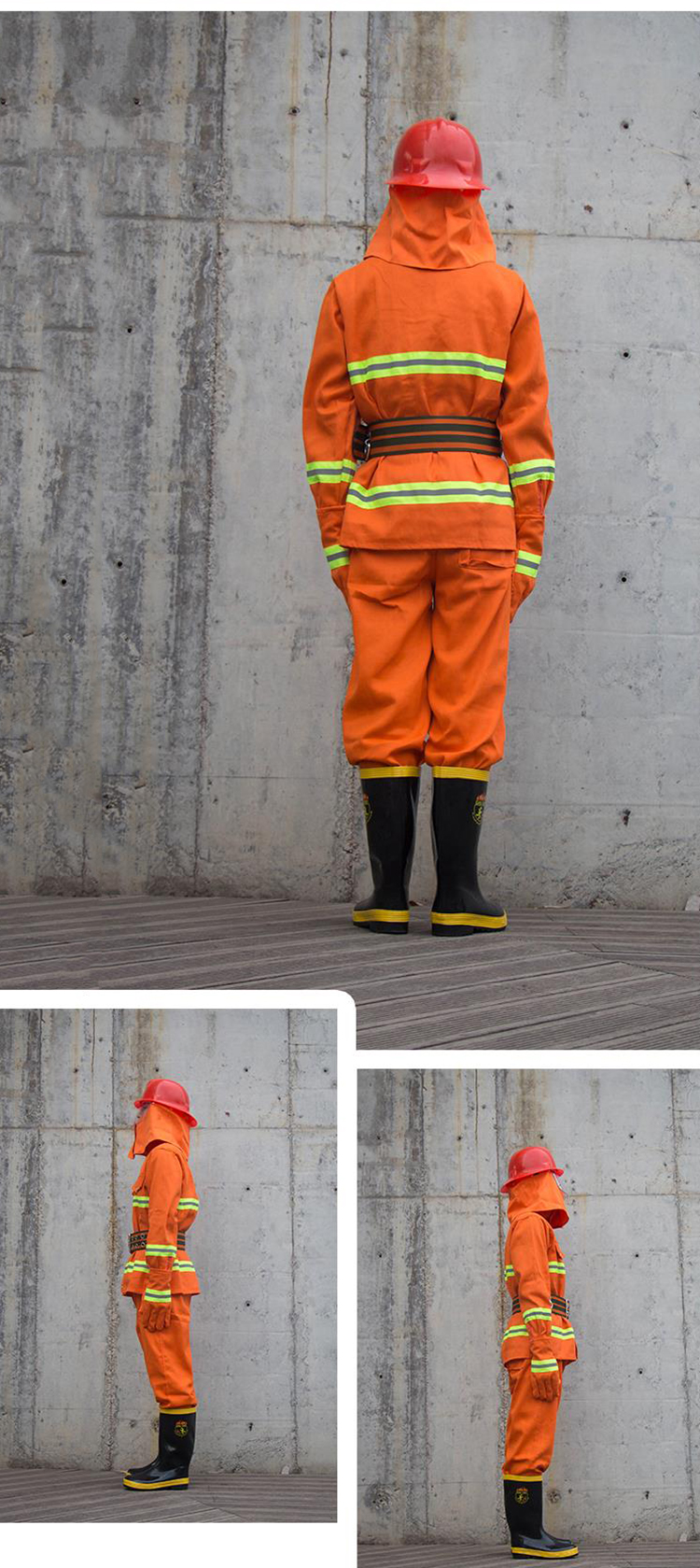 Fire Fighting Suit Safety Clothes Fireproof Flame-retardant Protective Clothing Miniature Fire Station Equipment 6 Pieces Suit (20)