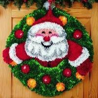 1th Free Shipping Hook Rug Kit Unfinished Crocheting Yarn Mat Latch Hook Rug Kit Floor Mat Santa Claus Picture Carpet Set