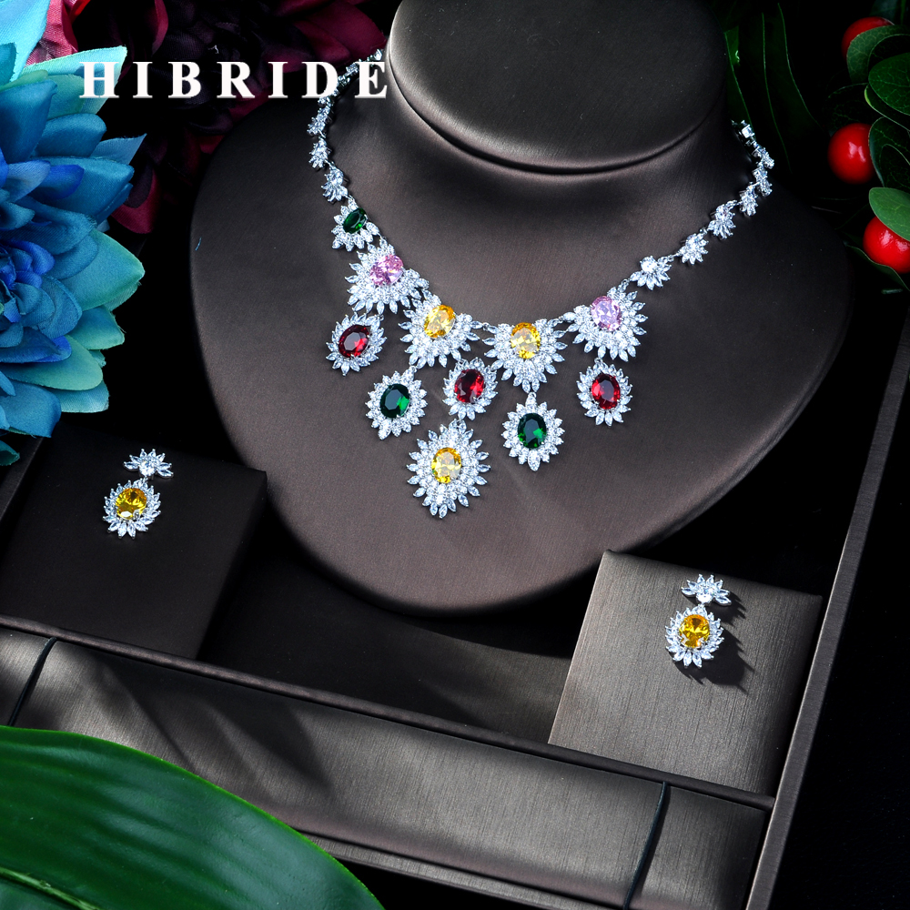 HIBRIDE Elegant Shinny High Quality Cubic Zirconia Jewelry Set for Women Multicolor Earring Necklace Jewelry Set