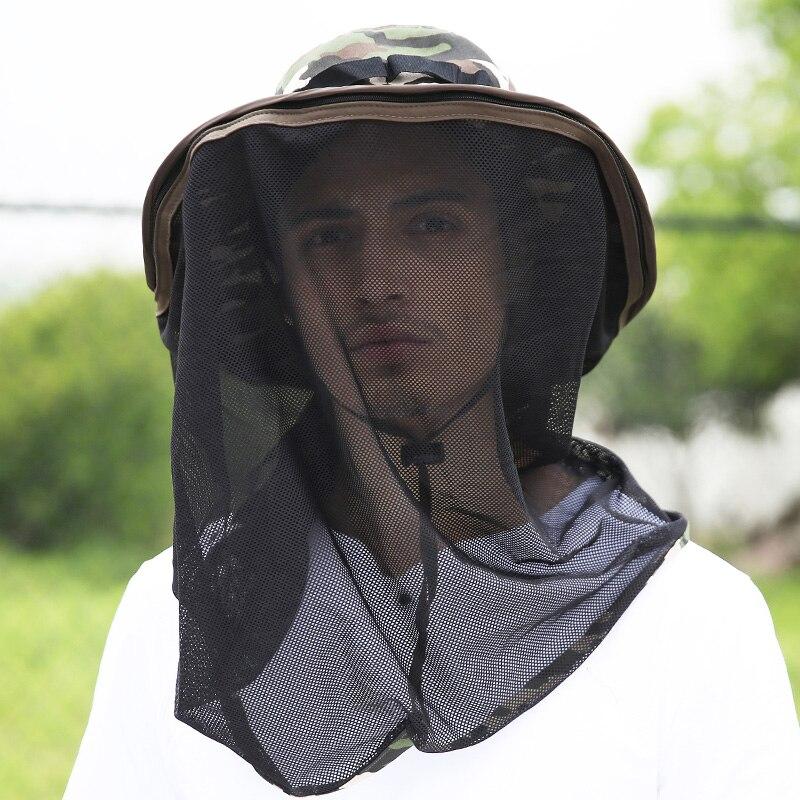 Hommes casquette de pêche chapeau de moustique détachable filet cou tête abeille Protection Camo Jungle extérieur chapeaux de soleil Anti UV Camping randonnée parasol