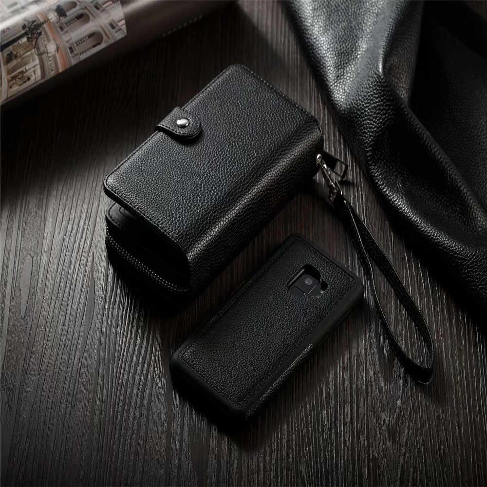 لسامسونج Note9 8 5 جلد الوجه انفصال سستة محفظة حقيبة لهاتف سامسونج S10 لايت S9 S8 زائد S7 S6 حافة متعددة الوظائف حالة