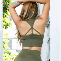 Colorvalue Vest Type Nylon Sport Brasserie Vrouwen Push Up Padded Workout Gym Bra Crop Tops Hollow Out Solid Yoga fitness Bras