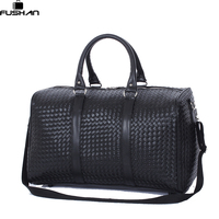 Fashion PU Leather Men Travel Bag Versatile Women Travel Bag Waterproof Black Cool Zipped Shoulder Bags