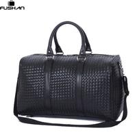 Fashion PU Leather Men Travel Bag Versatile Women Travel Bag Waterproof Black Cool Zipped Shoulder Bags