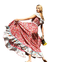 ZOGAA Bohemian summer Long Dress Ladies Elegant Floral Print Ruffles Beach Evening Party Night Vestidos maxi dresses for women