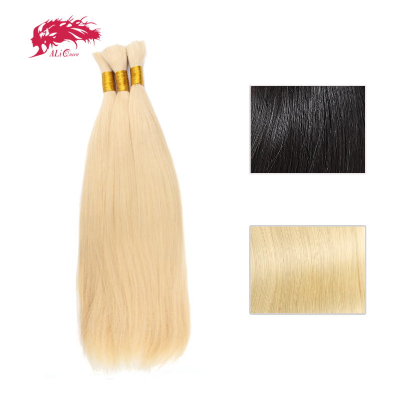 Ali Queen Hair Product 3Pcs 100% Human Hair Brazilian Straight Virgin Hair Extensions Natural Black Or #613 <font><b>Bulk</b></font> Hair image