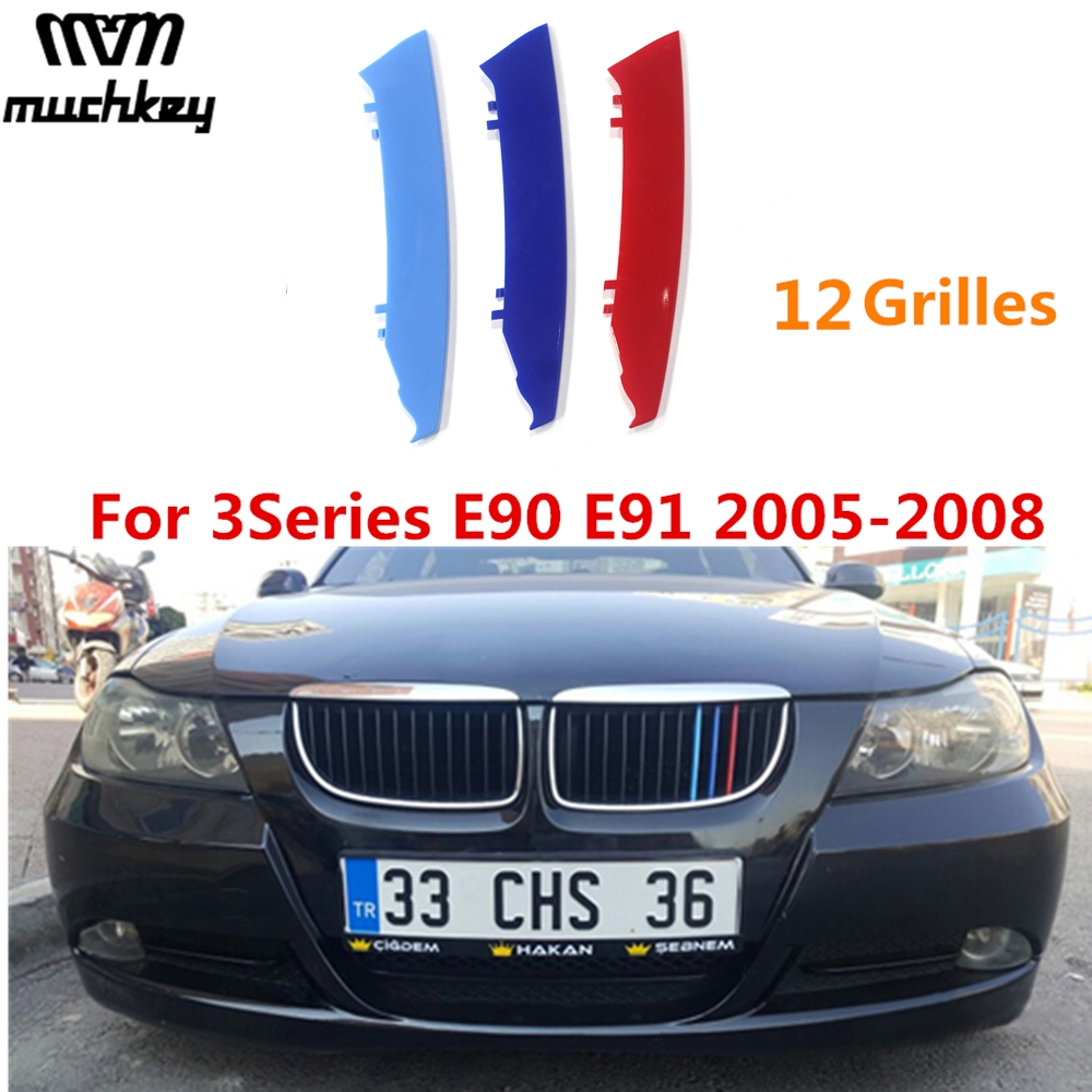3D M Styling Car Front Grille Trim Strips Grill Cover Sticker for BMW 3 Series 2005 to 2008 E90 E91 320 325 330 335 12 Grilles grille