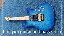 Benutzerdefinierte 24 Shop Blue Quilted Finish Jackson 6 String E-gitarre Mit gold-Hardware Farbe Ändern