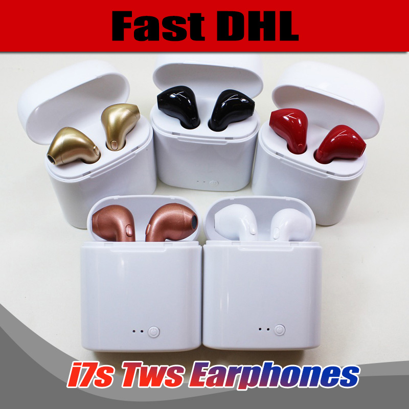 100pcs High Quality I7S TWS Twins in ear Bluetooth Earphone Wireless Stereo Music Earbuds with mic