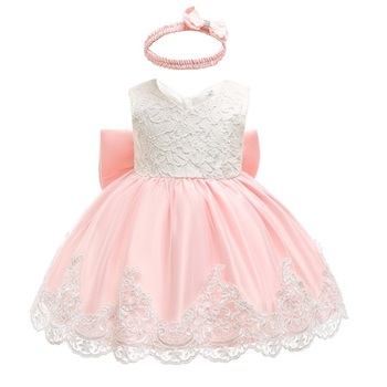 Baby Dress Sequin Lace Flower Christening Gown Baptism Clothes Newborn Kids Girls Birthday Princess Infant Party Costume 1