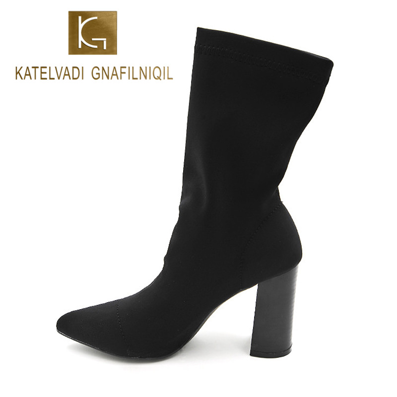 Brand Women Autumn Winter Boots 8.5 CM Square Heels Fashion Stretch Fabric Socks Boots Woman Pointed Toe Boots For Women K-067