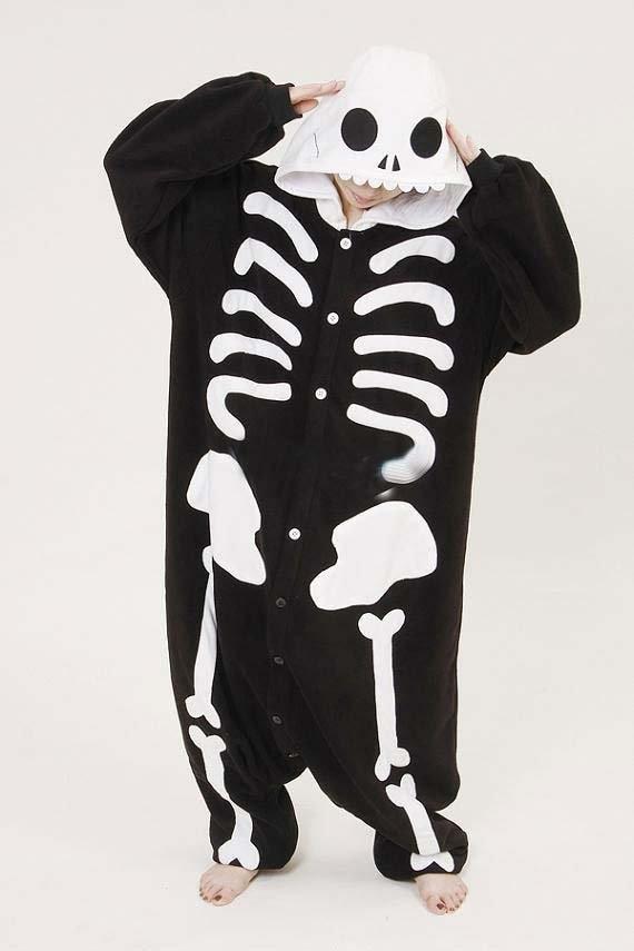 Winter New Pajamas Adult Cartoon Skeleton Skull Onesie