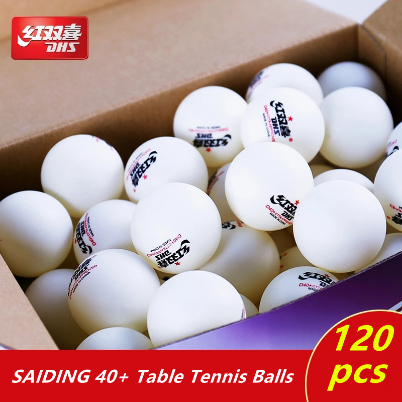 цена на DHS table tennis balls 120 balls 1 star d40+ balls for table tennis training 40 ABS seamed poly plastic ping pong balls