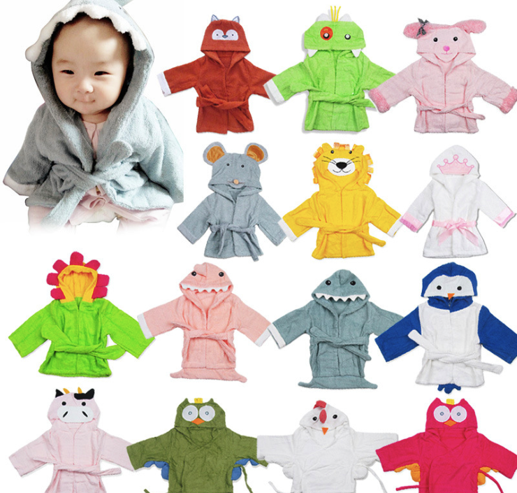 Kid Baby Care Bath Towels Bathrobe Children Infant Newborn Shower Products Square Cute Cartoon Water Absorption with Hat