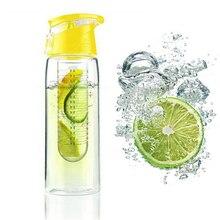Newest 800ML Fruit Water Bottle Infuser Lemon bottleJuice Sport Health Detox Flip Lid for Travel