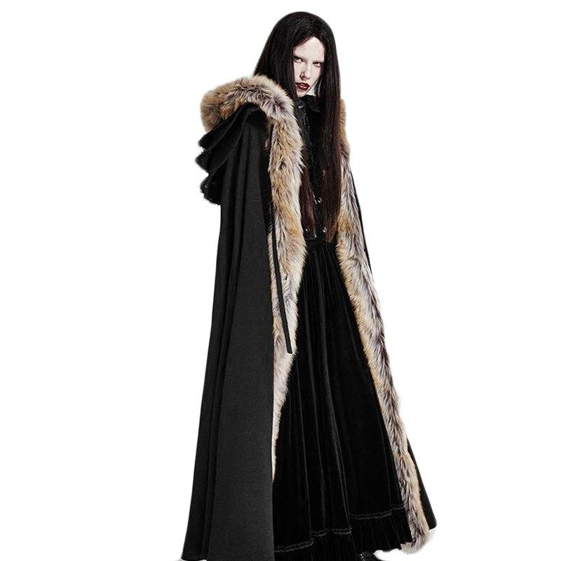Gothique Hiver En Fausse fourrure de Femmes Long Manteau Noir Rouge Thermique Punk pull à capuche Femme à manches longues Ouvrir Point Manteaux Taille Libre - 2