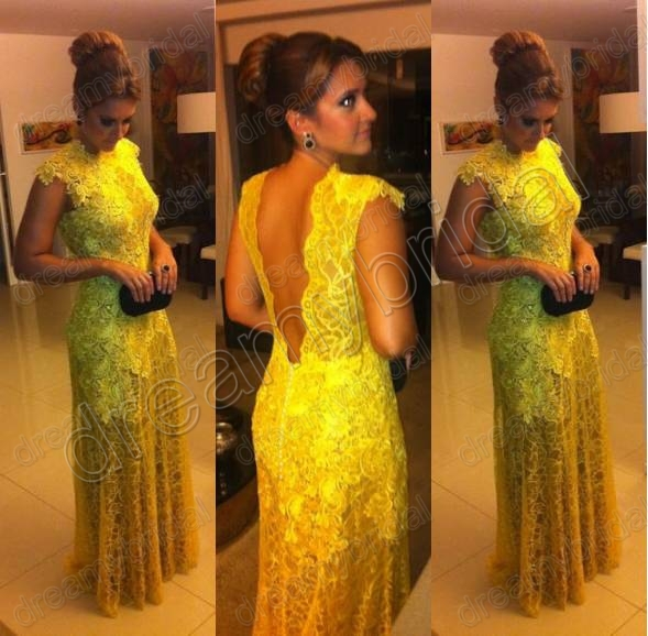 Hot ! Custom Made Cap Sleeves Backless Yellow Lace Floor ...