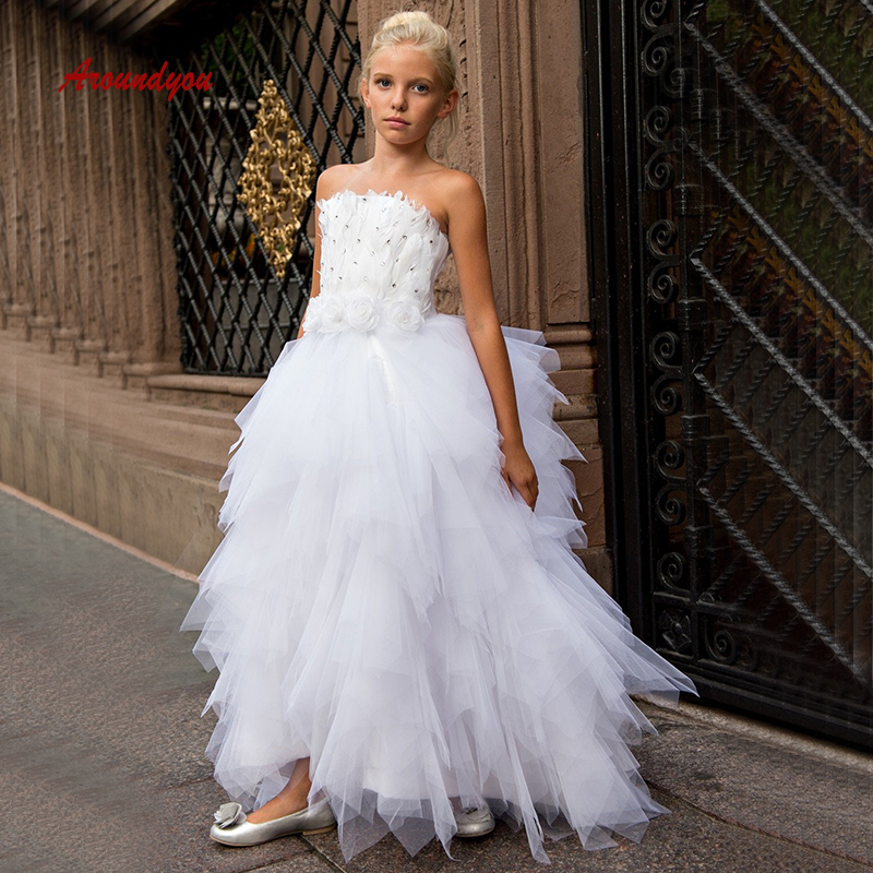 White   Flower     Girl     Dress   for Weddings Pageant Tulle First Holy Comunion   Girls     Dress   2019