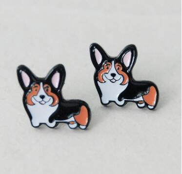 Cute Cartoon pet dog earring Teddy Husky Bulldog Fashion personality harajuku womens Ear Piercing Stud earrings Party bijoux